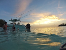 Sunset in warm waters